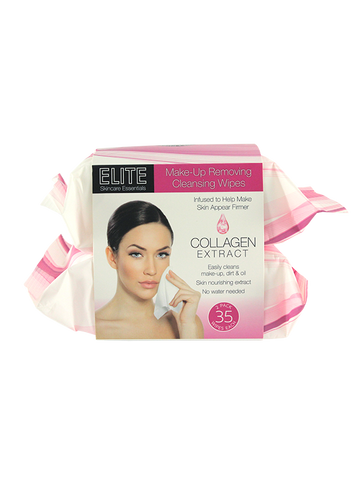 Elite 2 x 35ct Make Up Removing Cleansing Wipes, Collagen