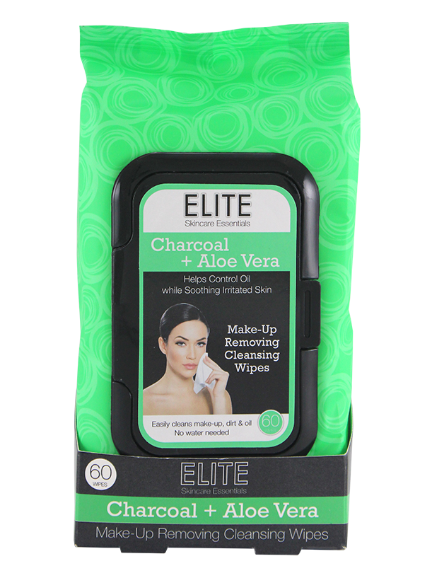 Elite Make Up Removing Cleansing Wipes, Charcoal & Aloe Vera 60ct