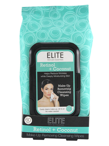 Elite Make Up Removing Cleansing Wipes, Retinol & Coconut 60ct