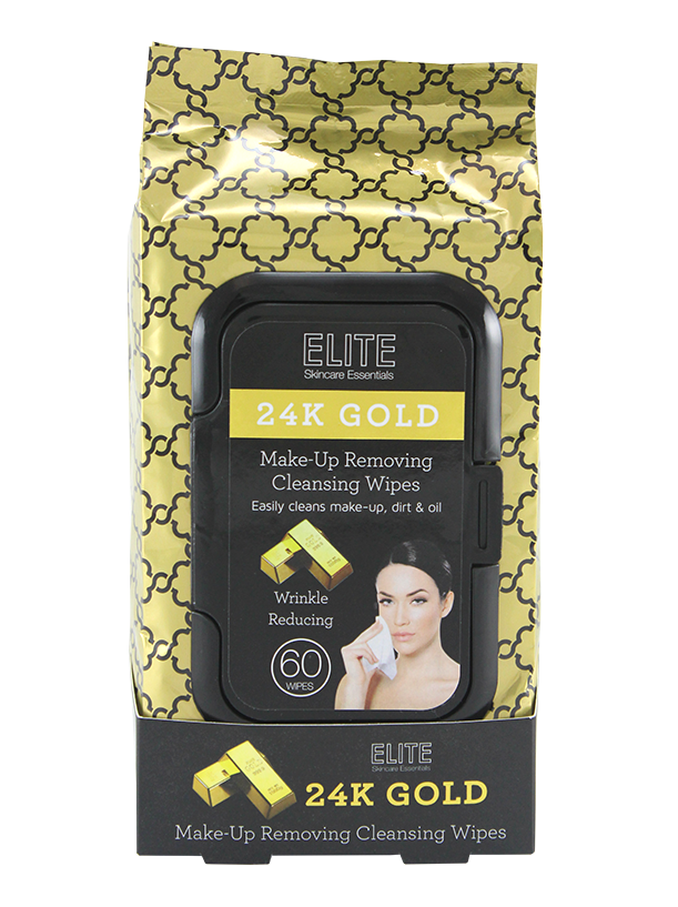 Elite Make Up Removing Cleansing Wipes, Gold 60ct