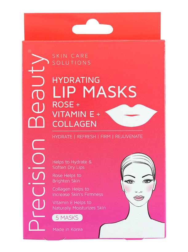 Precision Beauty 5 Pack Korean Lip Mask, Collagen, Rose Oil and Vitamin E