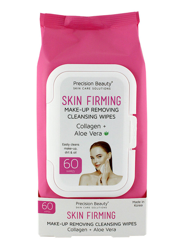 MAKE UP REMOVING CLEANSING WIPES, COLLAGEN & ALOE VERA 60CT