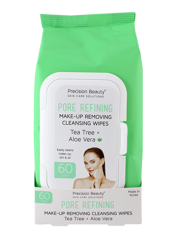 MAKE UP REMOVING CLEANSING WIPES, TEA TREE & ALOE VERA 60CT