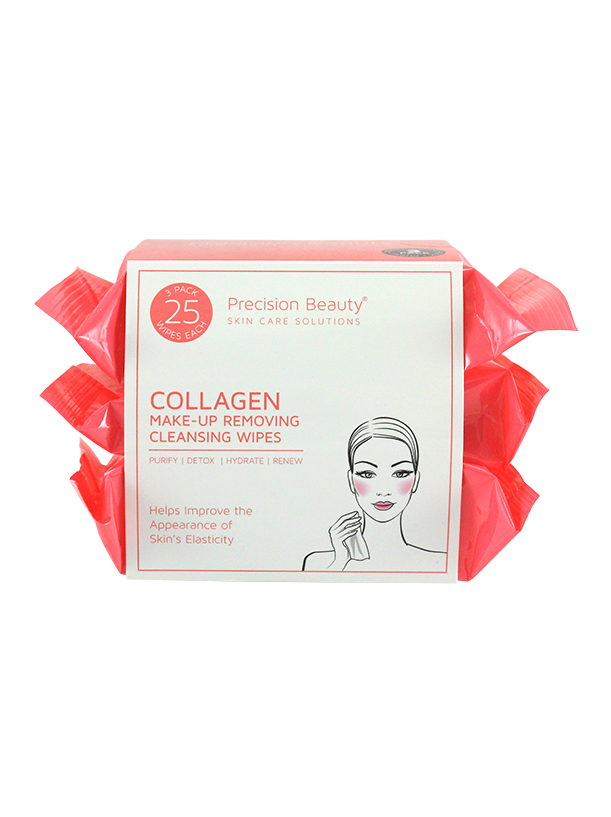3 X 25CT  MAKE UP REMOVING CLEANSING WIPES, COLLAGEN