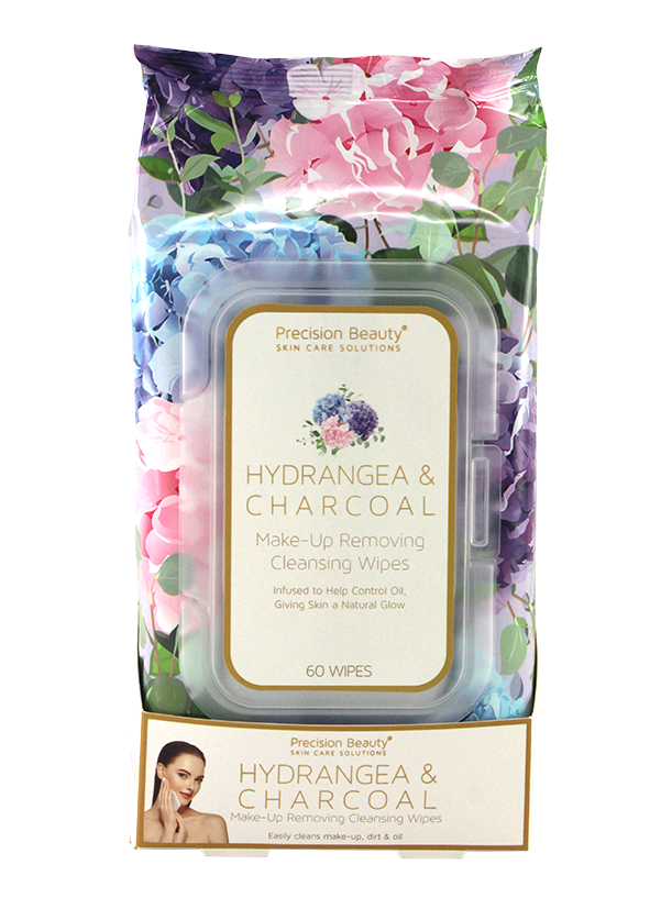 MAKE UP REMOVING CLEANSING WIPES, HYDRANGEA & CHARCOAL 60CT