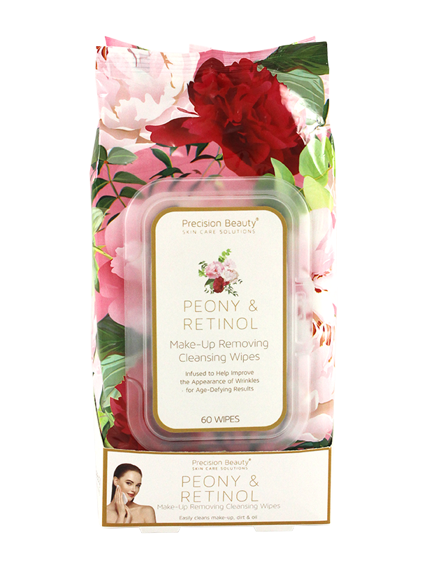 MAKE UP REMOVING CLEANSING WIPES, PEONY & RETINOL 60CT