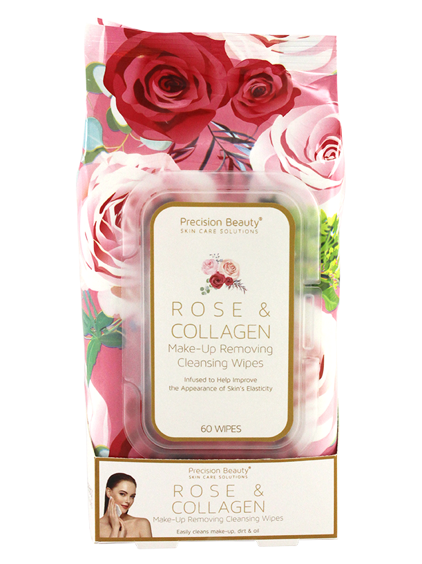 MAKE UP REMOVING CLEANSING WIPES, ROSE & COLLAGEN 60CT