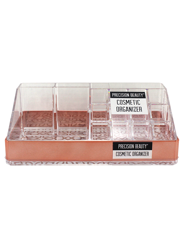 Clear and Rose Gold Cosmetic Organizer
