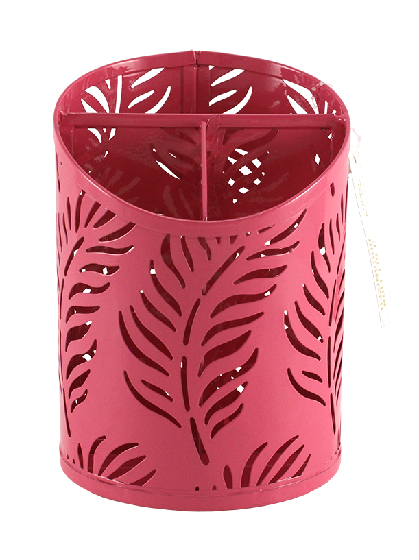 3 Section Cup Organizer Palm Pattern Pink