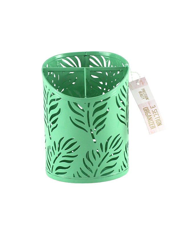 3 Section Cup Organizer Palm Pattern Green