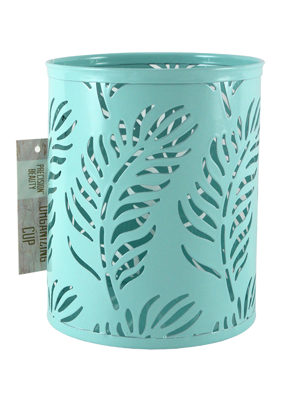 LARGE CUP METAL ORGANIZER. PALM PATTERN