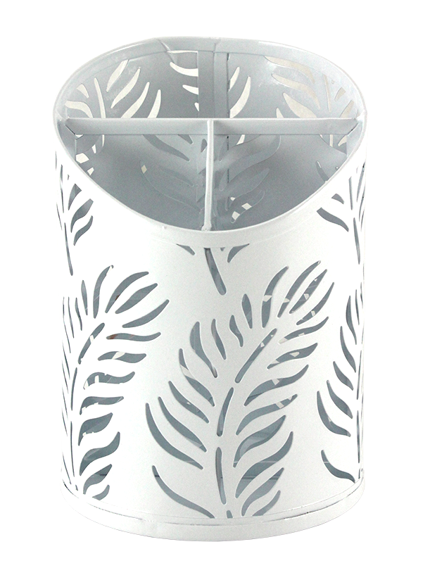 3 SECTION CUP METAL ORGANIZER. PALM PATTERN