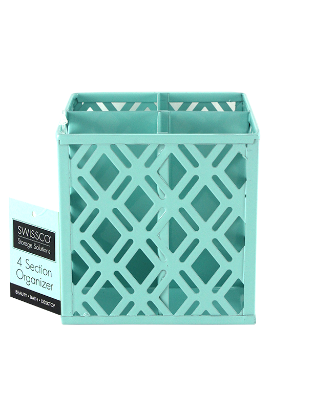 SWISSCO 4 SECTION SQUARE METAL ORGANIZER. DIAMOND PATTERN