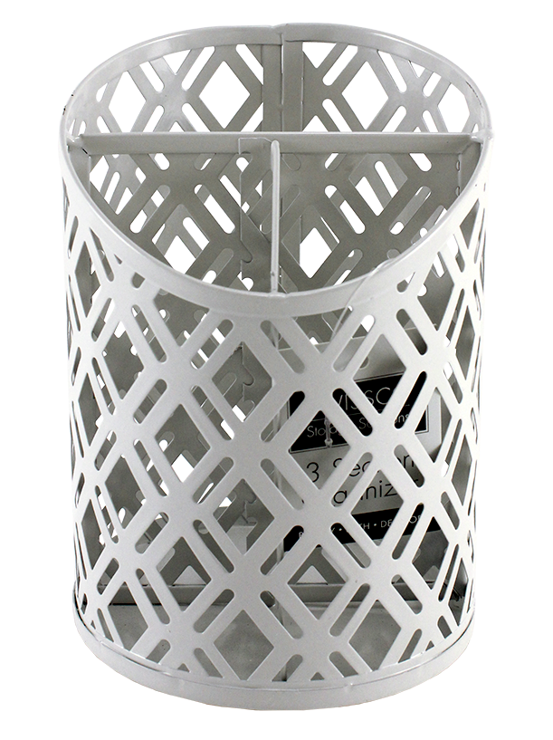 3 SECTION CUP METAL ORGANIZER. DIAMOND PATTERN