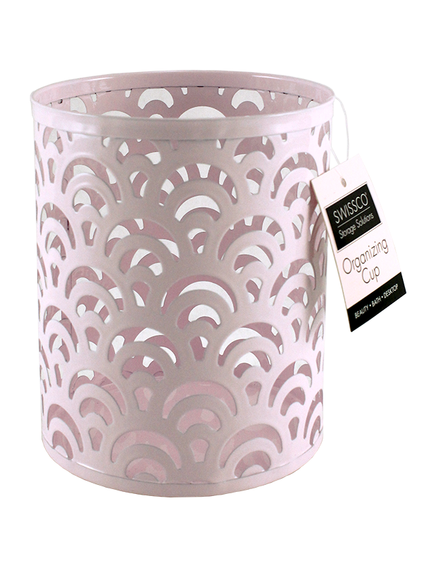 LARGE CUP METAL ORGANIZER. SCALLOP PATTERN