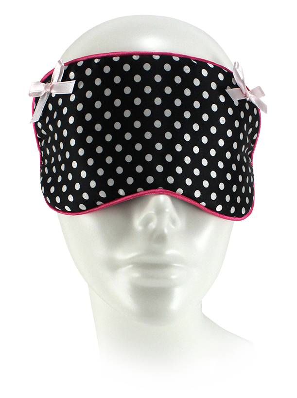 Small Polka Dot Sleep Mask. Black w/White Dots & Pink Trim
