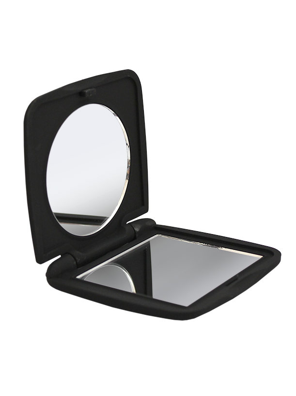 Soft Touch Compact Mirror Black, 1X/5X