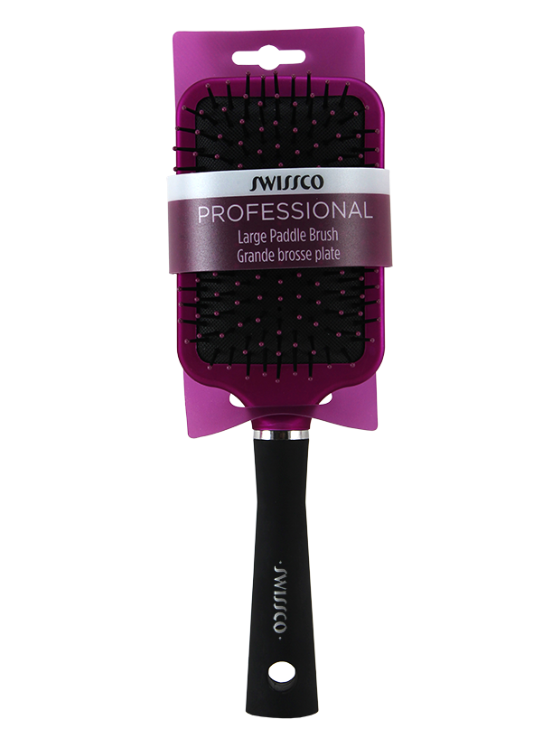 Purple & Black Soft Touch Paddle Hair Brush with Polypin Bristles - Large