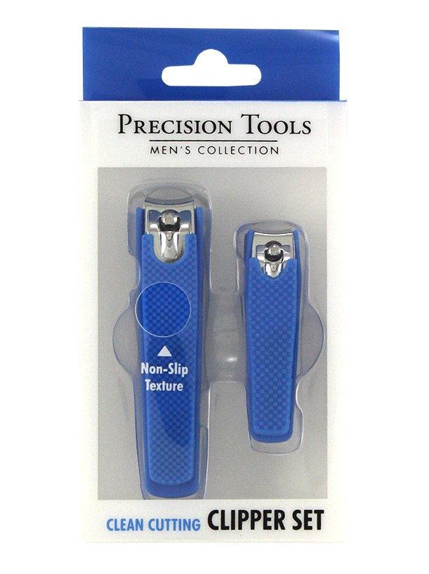 2PC NAIL CLIPPER SET W/SOFT TOUCH GRIP  IN PET BOX