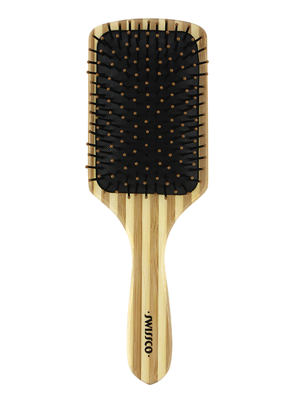 Striped Bamboo Paddle Hair Brush Cushion Polypin