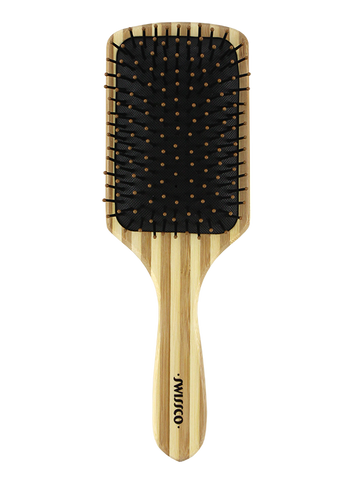 Bamboo Paddle Hair Brush Cushion Polypin - Striped