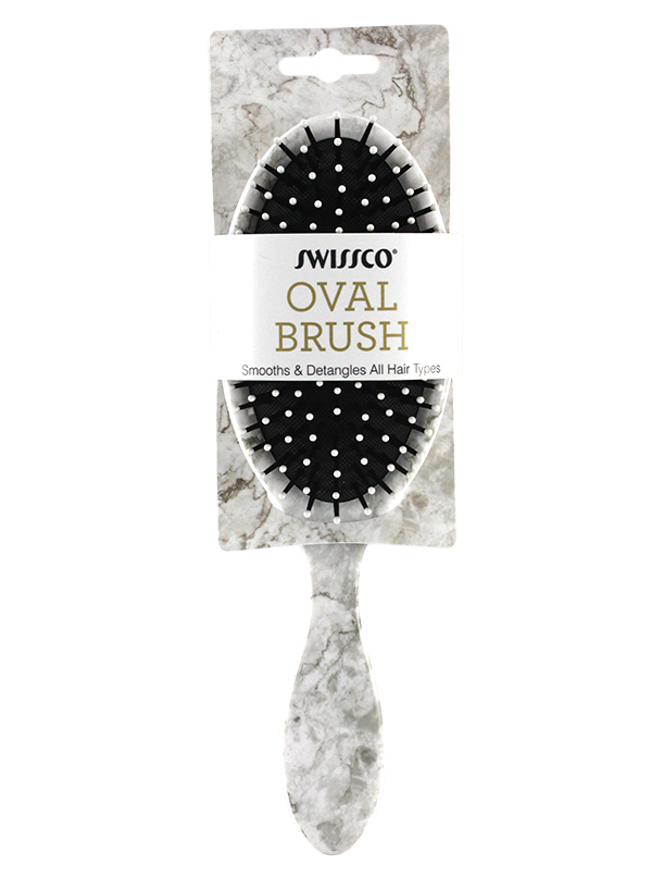 OVAL HAIR BRUSH. WHITE  MARBLE