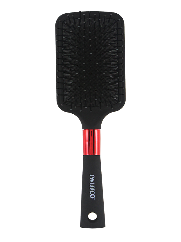 BLACK SOFT TOUCH PADDLE HAIR BRUSH(GEO ARTWORK)