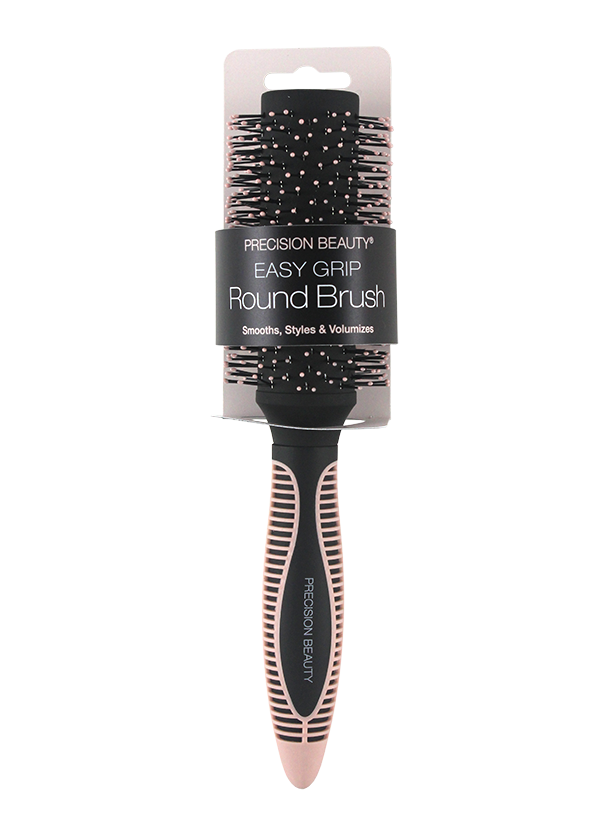 ROUND HAIR BRUSH WITH SOFT TOUCH TEXTURED GRIP