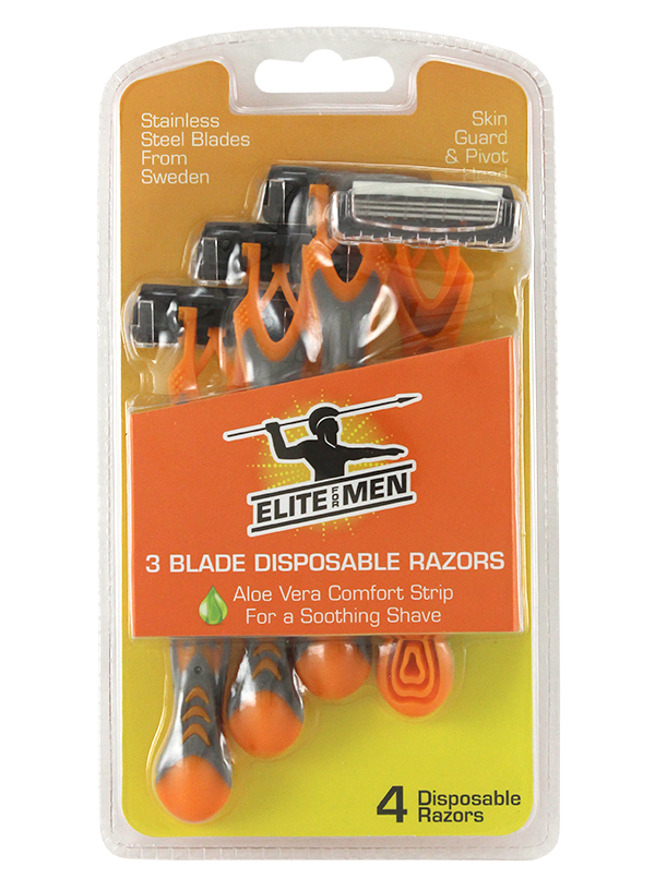 4PK TRIPLE BLADE DISPOSABLE RAZORS