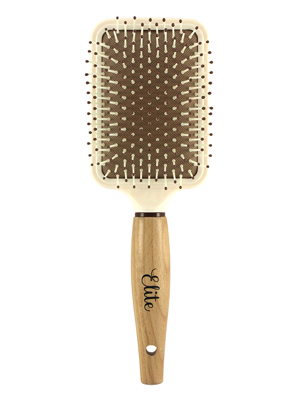 WOODEN HANDLE PADDLE HAIR BRUSH