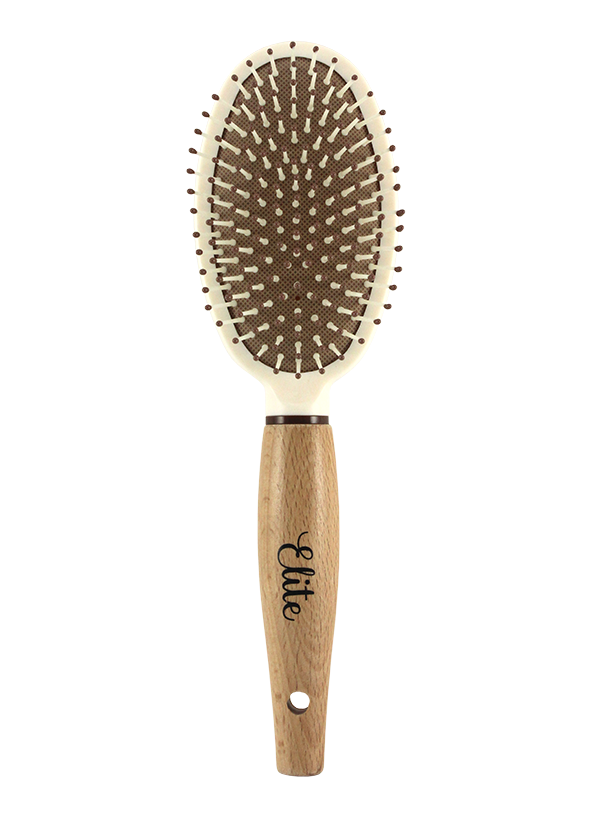 WOODEN HANDLE OVAL HAIR BRUSH