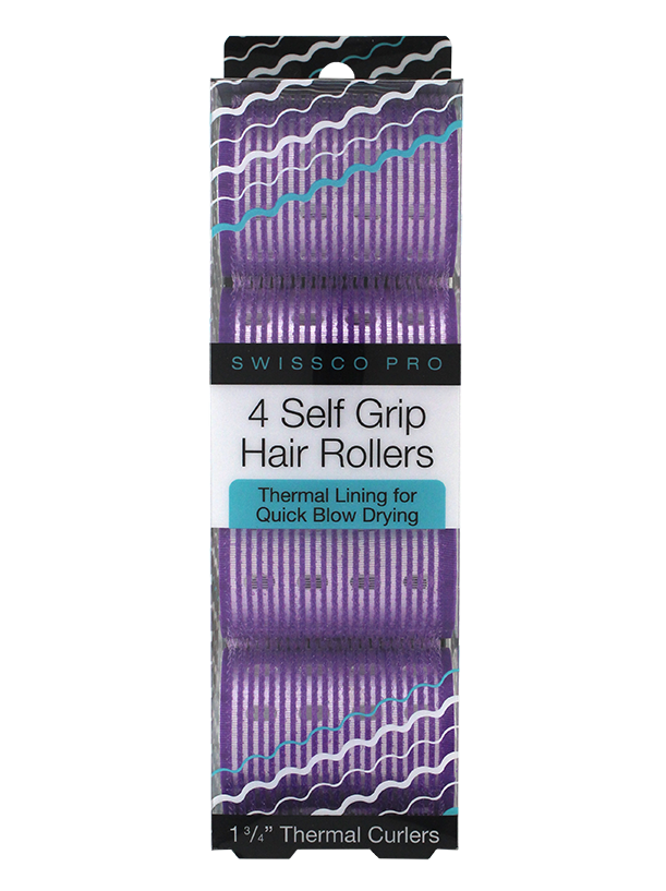 4 Pack Thermal Self Grip Hair Rollers 1.75""