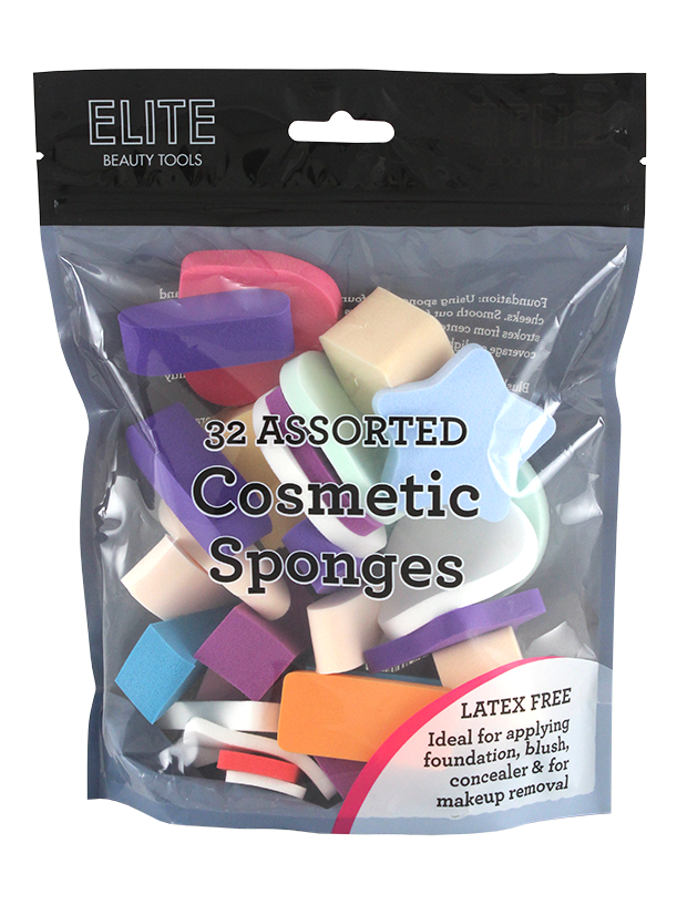 Elite Cosmetic Sponges 24 Count Assorted