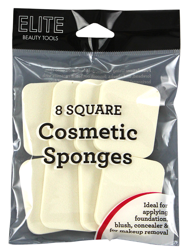 Elite Square Cosmetic Sponge 8 Count