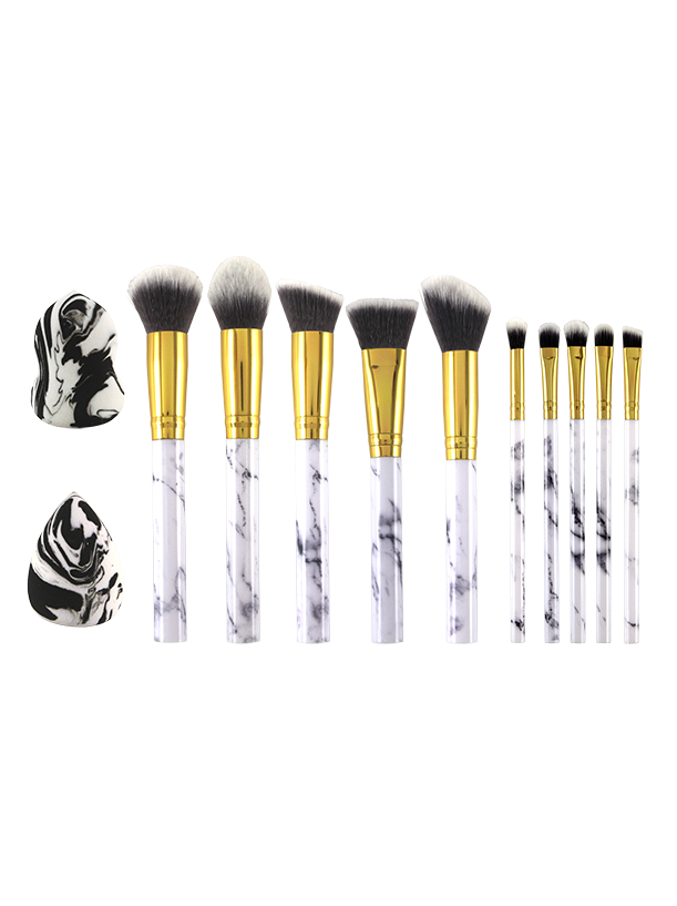 12PC MAKEUP BRUSH SET WITH 2 MAKEUP SPONGES MARBLE