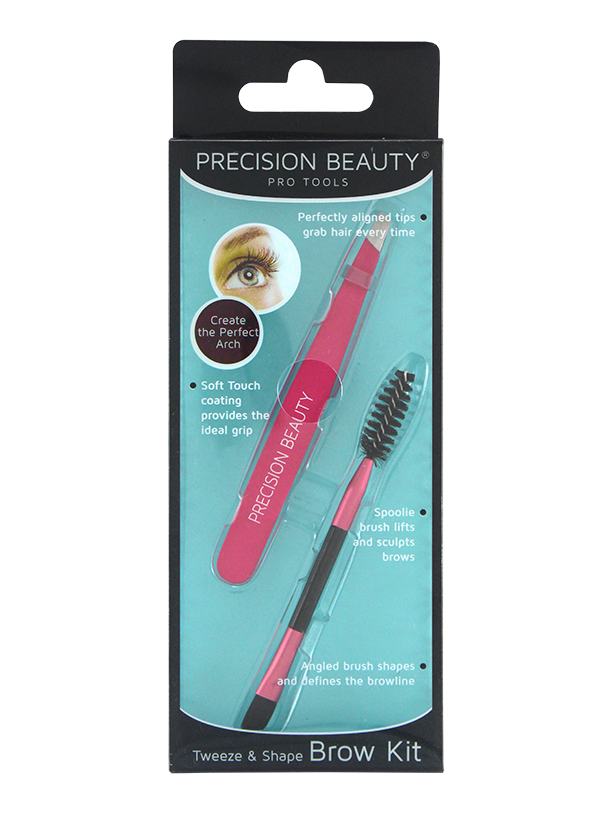 Precision Beauty Pro Slanted Tweezer & Brow Spoolie Brush in Pink