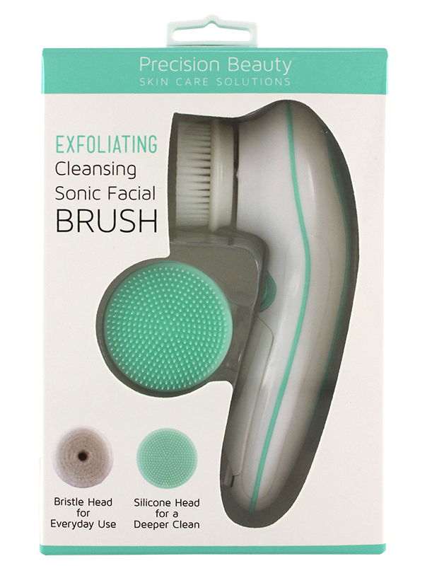 SONIC FACIAL BRUSH WITH 1 NYLON & 1 SILICONE BRUSH HEAD