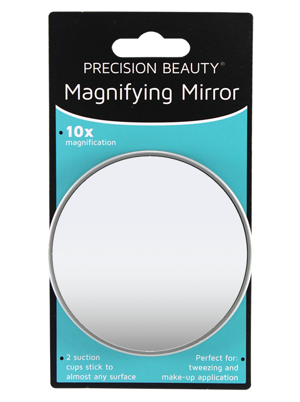 "Precision Beauty Suction Cup Mirror 31/2"", 10X Silver Metallic"