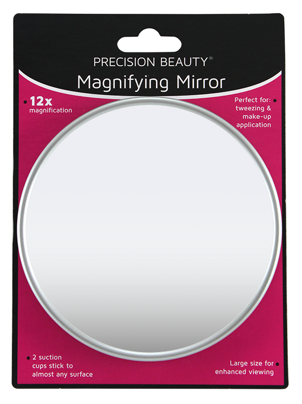 "Precision Beauty Suction Cup Mirror 5"", 12X Silver Metallic"