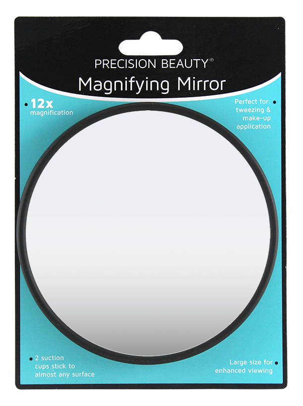 "Precision Beauty Suction Cup Mirror 5"", 12X Black"