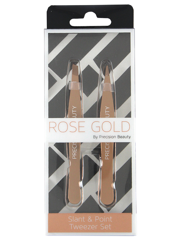 Rose Gold Collection 2 Pack Tweezers 1 Slanted & 1 Pointed