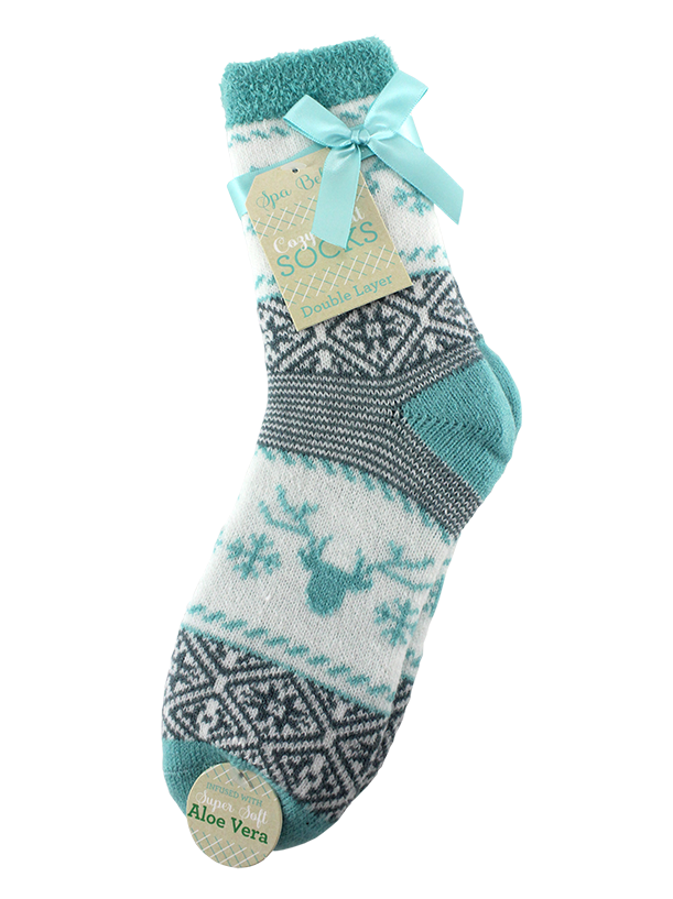 DOUBLE LAYERED COZY SOCKS ALOE INFUSED, REINDEER