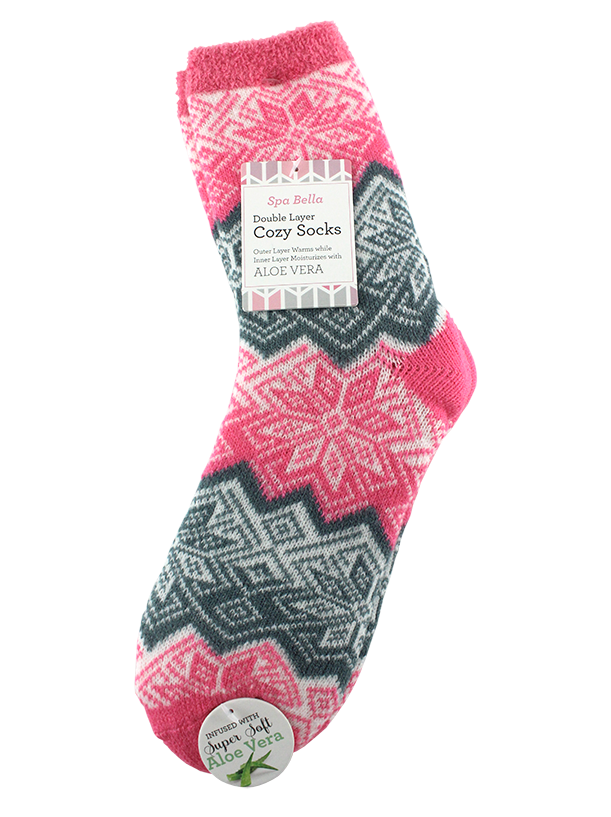 DOUBLE LAYERED COZY SOCKS ALOE INFUSED, SNOWFLAKES AND STRIPES