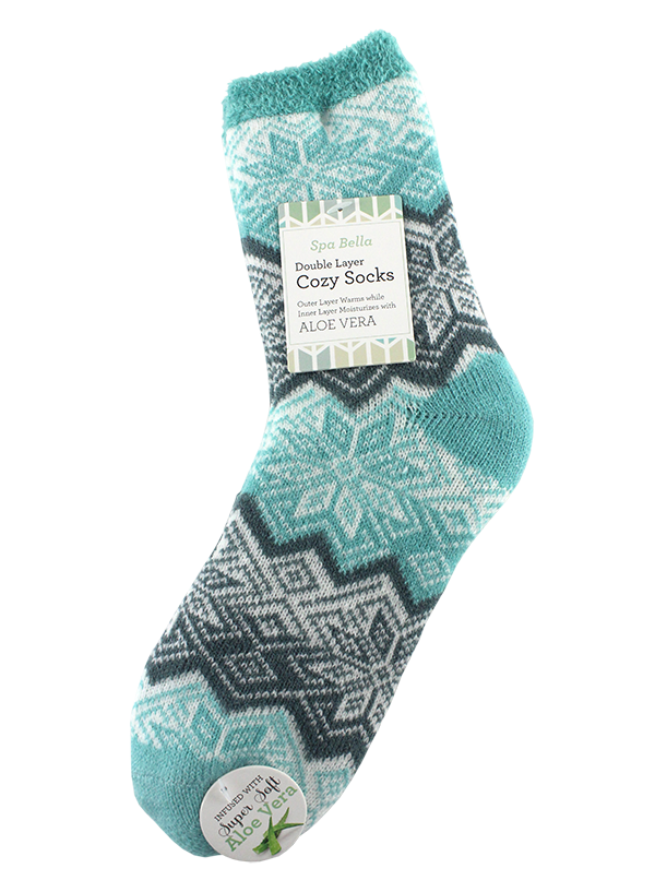DOUBLE LAYERED COZY SOCKS ALOE INFUSED, SNOWFLAKE AND STRIPES