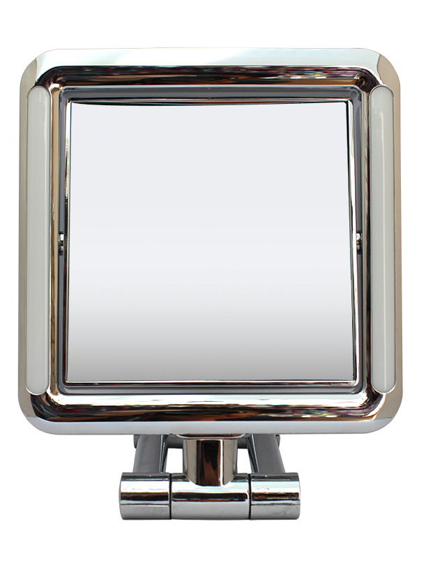 "Lighted (LED) Chrome Square Standing Mirror 5""  x 5"", Adj Base 1x/7x"