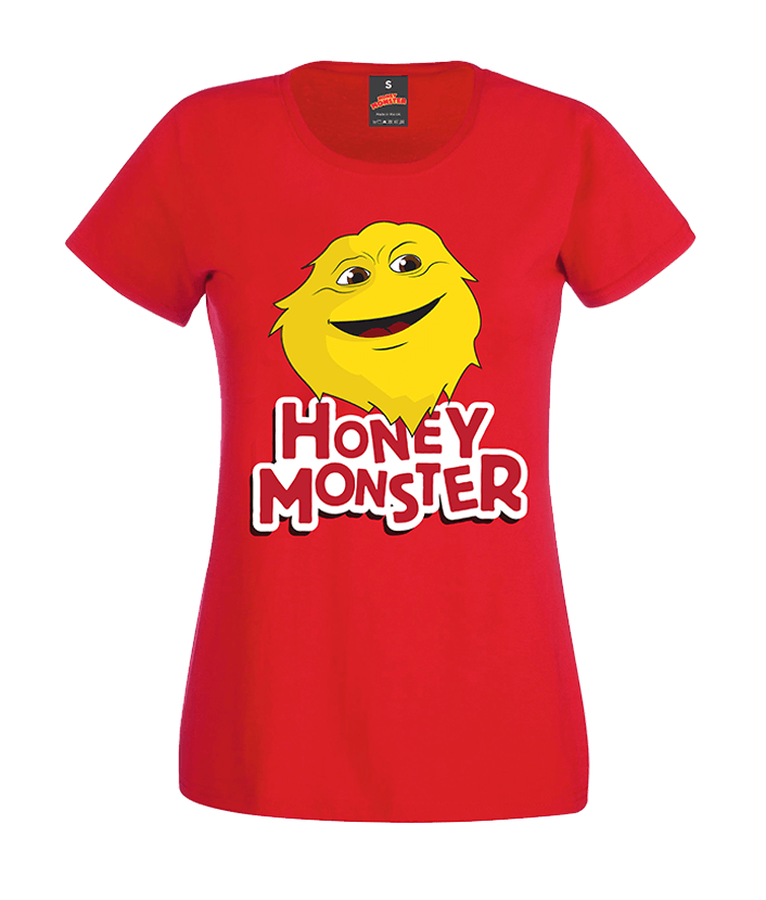 LADIES HONEY MONSTER RED RETRO T-SHIRT