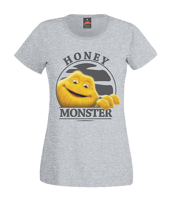 LADIES SUNSET HONEY MONSTER GREY RETRO T-SHIRT