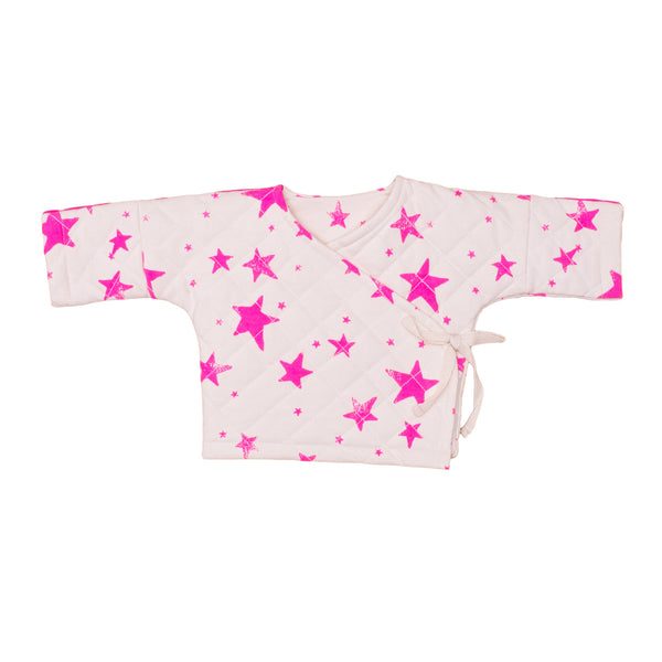 Quilted Wrap Top in Pink Stars