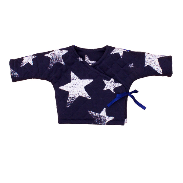 Quilted Wrap Top in Navy Stars