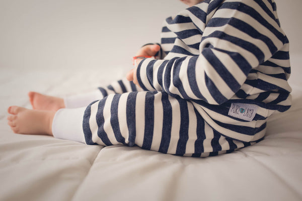 Navy Striped Baby Pants